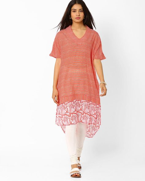Striped High-Low Tunic By Biba ( Red )