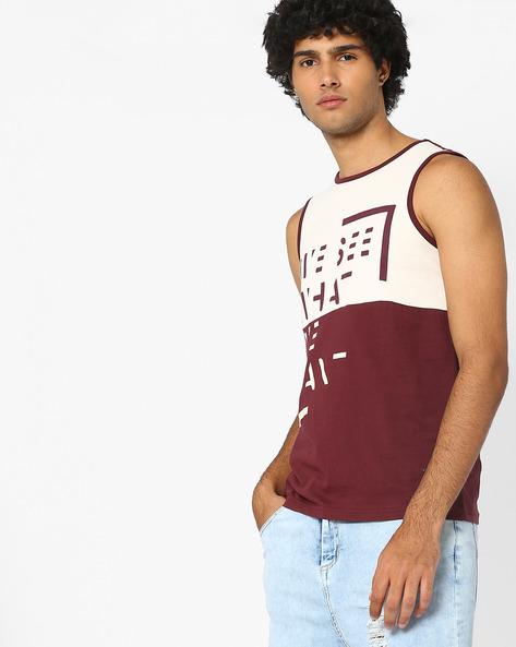 Cut & Sew Graphic Print Tank T-shirt By AJIO ( Maroon )