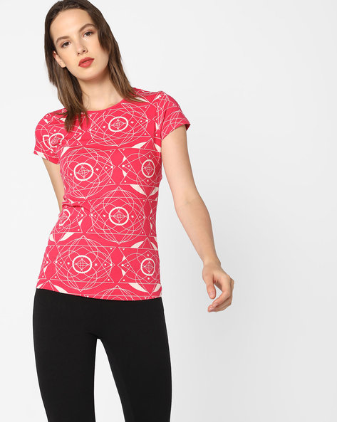 All-Over Print Crew-Neck T-shirt By AJIO ( Pink )