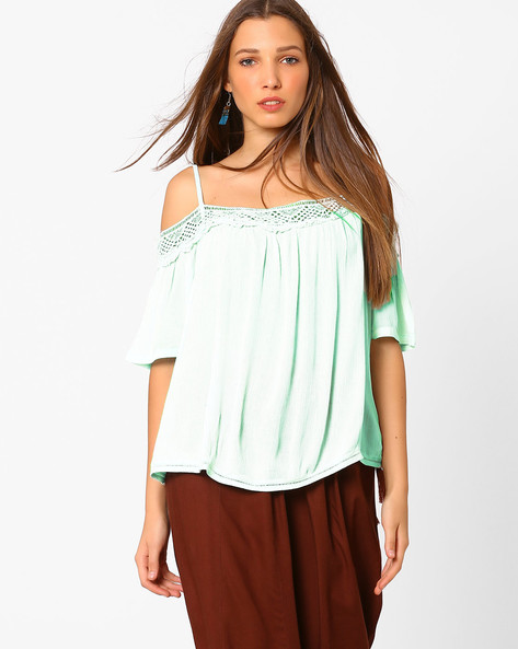 Cold-Shoulder Top With Lace By AJIO ( Mint )