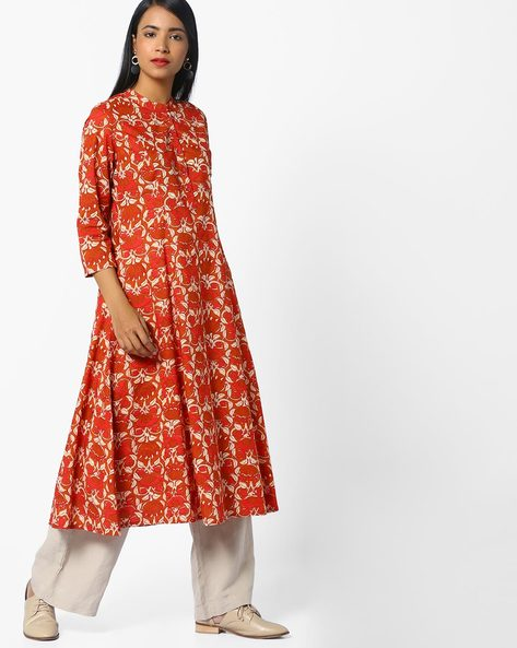Floral Print Kurta With Mandarin Collar By AJIO ( Melon )