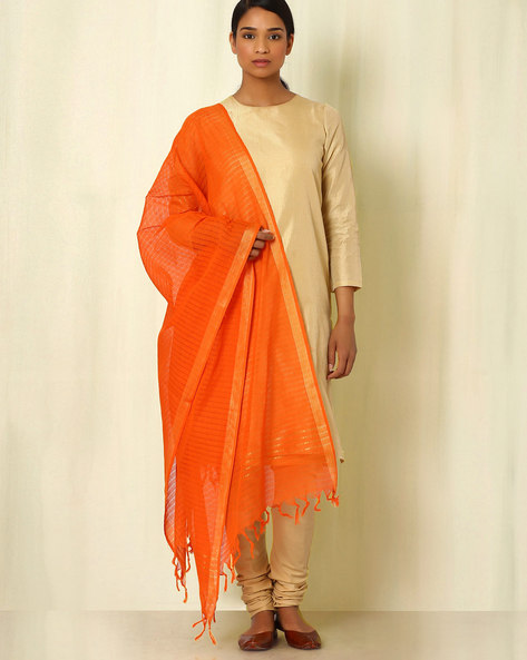 South Cotton Woven Dupatta By Indie Picks ( Orange )