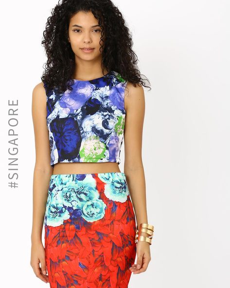 Floral Print Crop Top By MDS ( Multi ) - 460012903010