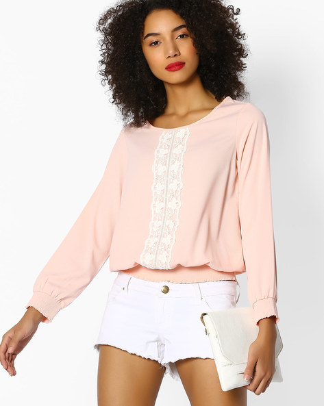 Blouson Top With Lace Panel By FIG ( Pink )