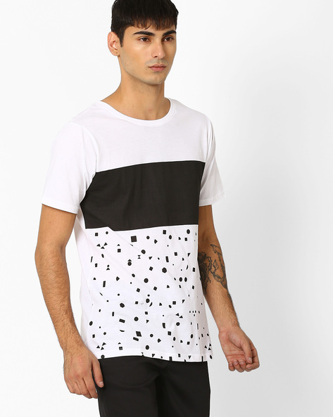 Slim Fit Colourblock T-shirt By ADAMO LONDON ( White )