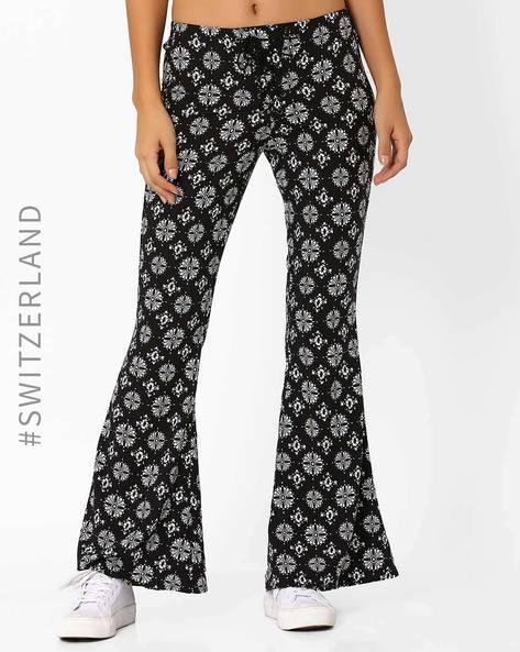 Printed Flared Pants With Tie-Up By TALLY WEiJL ( Black )