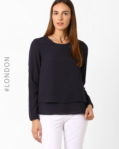 Layered Top By Marks & Spencer ( Navyblue )