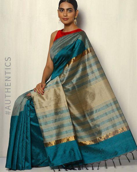 Rising Temple Pure Silk Dupion Handloom Saree By Pretty Woman ( Teal )