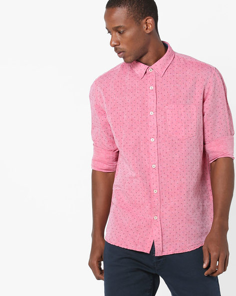 All-Over Print Shirt With Patch Pocket By BASICS ( Red )