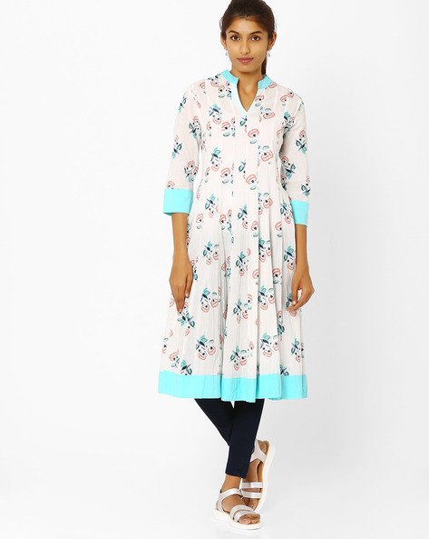Flared Kurta With Floral Print By AJIO ( Offwhite )