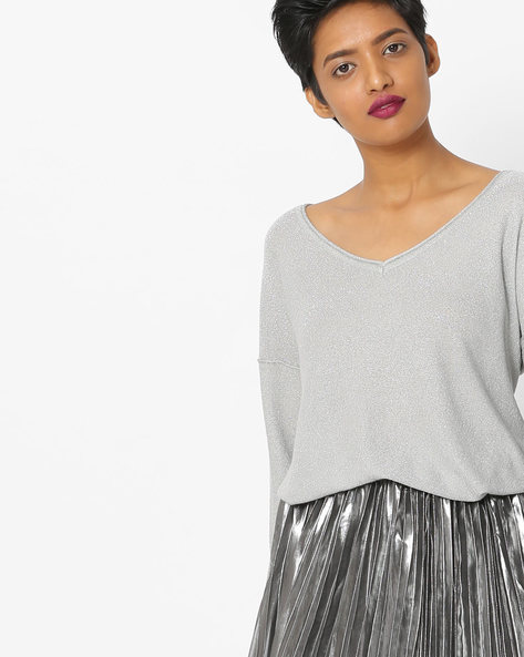 Scoop-Neck Drop-Shouldered Top By Only ( Grey )