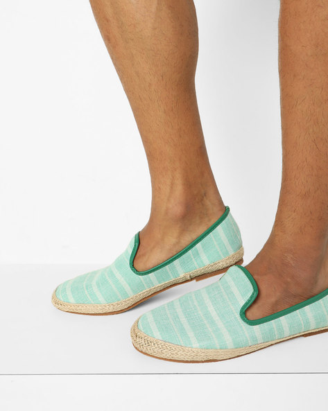 Striped Slip-On Espadrilles By AJIO ( Green )