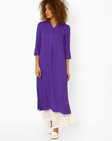 Straight Kurta With Button Placket By Juniper ( Purple )