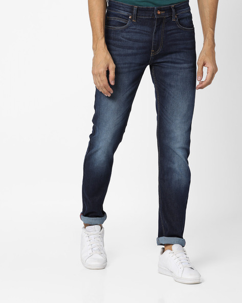 Mid-Rise Washed Skinny Jeans By AJIO ( Blue )