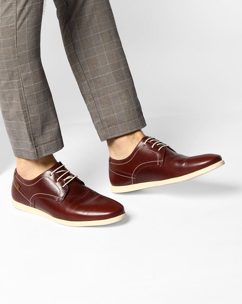 Genuine Leather Casual Shoes By RED TAPE ( Maroon )