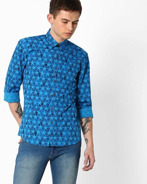 Slim Fit Printed Casual Shirt By WRANGLER ( Blue )