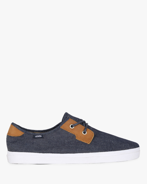 Low-Top Lace-Up Casual Shoes By Vans ( Blue )