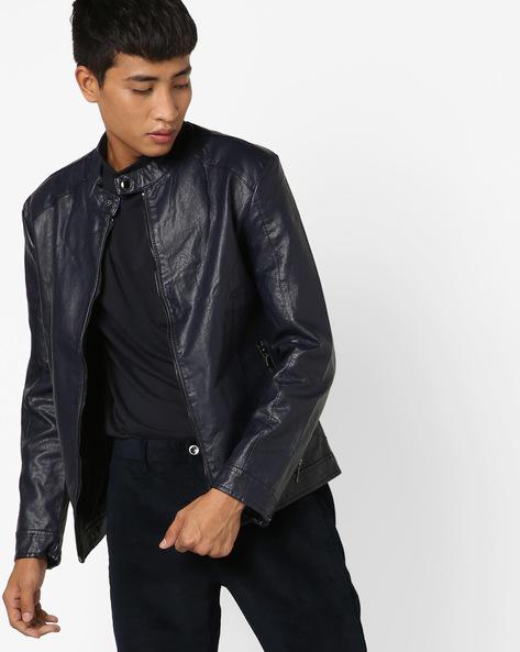 Slim Fit Biker Jacket By The Indian Garage Co ( Navy ) - 460144900004