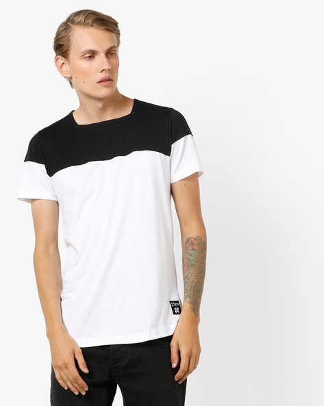 Square-Neck Cut & Sew Panelled Colourblock T-shirt By KULTPRIT ( White )