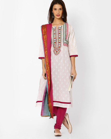 Embroidered Churidar Kurta With Dupatta By Shakumbhari ( White )
