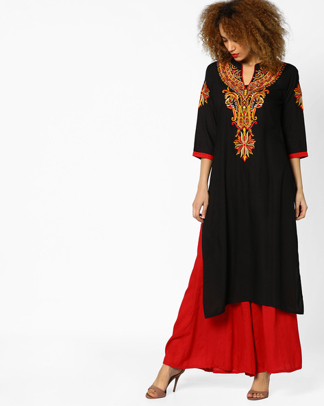 Embroidered Straight Kurta With Mandarin Collar By Shree ( Black )