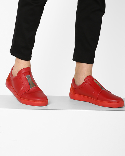 Panelled N9-Treated Sneakers With Elasticated Gusset By AJIO ( Red )