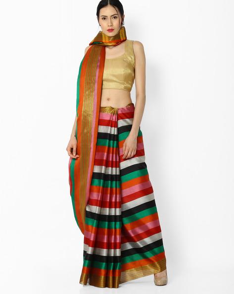Striped Saree With Zari Border By Amori ( Multicolor )
