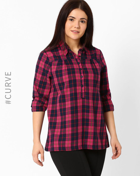 Checked Shirt With Roll-Tab Sleeves By Oxolloxo ( Red )