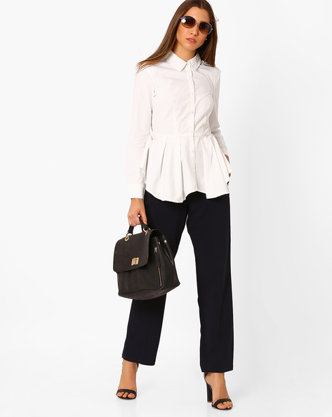 Peplum Shirt With Waist Tie-Up By Vero Moda ( White )
