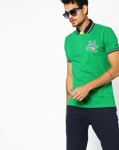 Polo T-shirt With Stripe-Tipped Hems By Fort Collins ( Limegreen )
