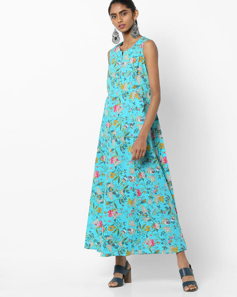 Floral Print Sleeveless A-line Dress By Biba ( Turquoise )