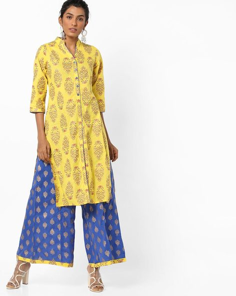 Printed Straight Cotton Kurta By AYAANY ( Yellow )