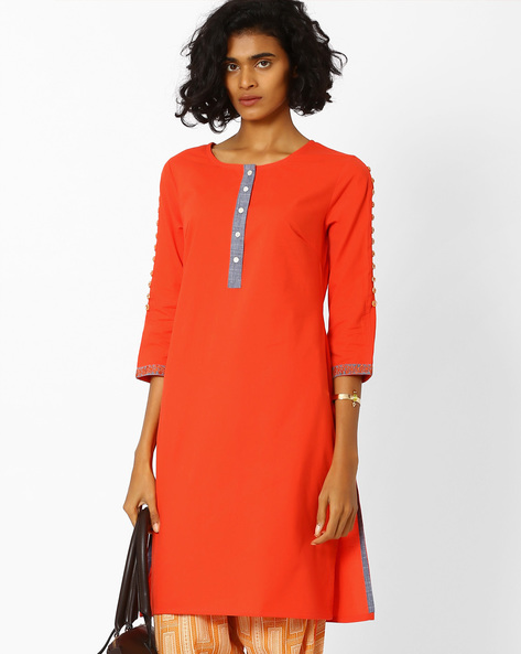 Straight Kurta With Embroidered Hems By AJIO ( Coral )