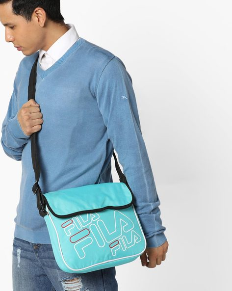 Printed Messenger Bag With Adjustable Strap By FILA ( Blue )