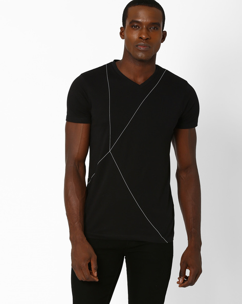 Slim Fit Compact Cotton Ripley T-shirt By SON OF A NOBLE ( Black )