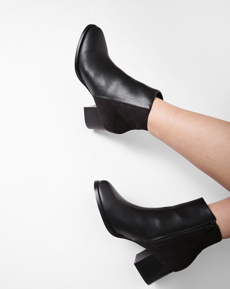 Ankle-Length Boots With Block Heels By Truffle Collection ( Black )