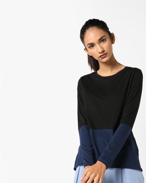 Cut & Sew Cotton Knit Top By AJIO ( Black )