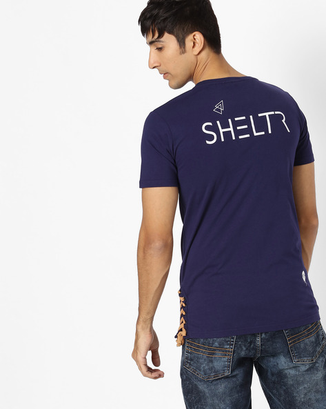 Crew-Neck T-shirt With Side Tie-Up By SHELTR ( Navy )