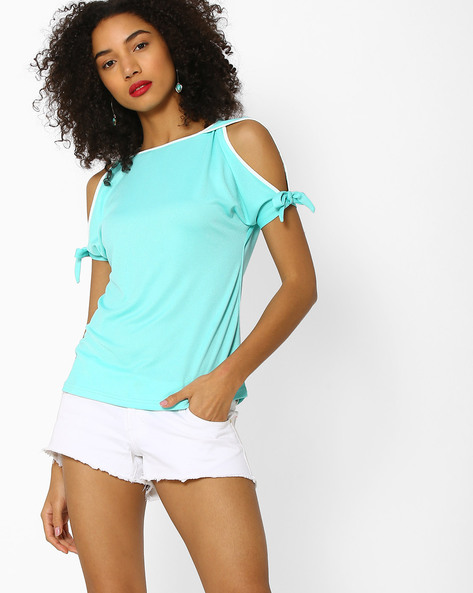 Cold-Shoulder Top By And ( Aqua )
