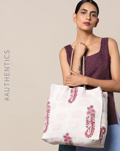 Sanganeri Handblock Print Cotton Jute Handbag By Awdhesh Kumar ( Fuchsia ) - 460120549001