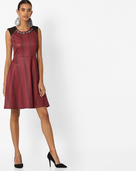 Printed A-line Dress With Embellished Neckline By Deal Jeans ( Red )