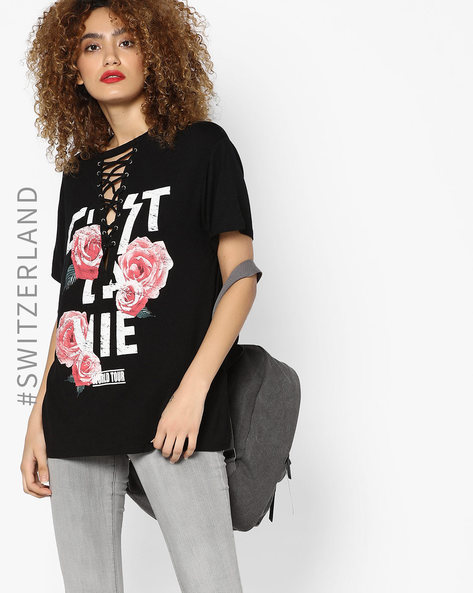 Graphic Print Top With Criss-Cross Design By TALLY WEiJL ( Black )