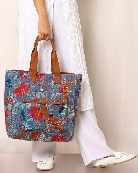 Floral Print Handbag With Kantha Embroidery By Molcha ( Blue )