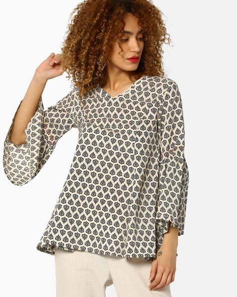 Printed Top With Bell Sleeves By AJIO ( Offwhite )