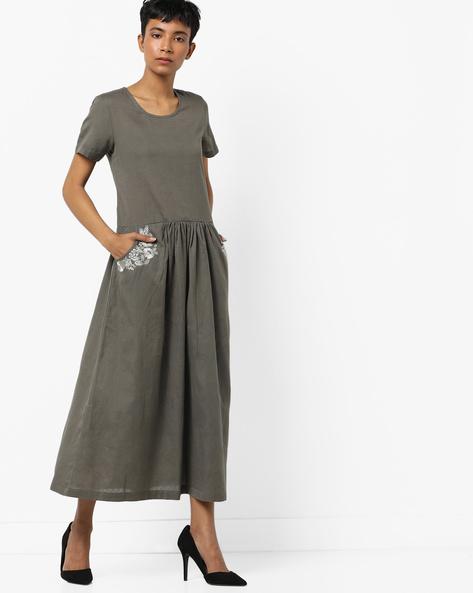 Kurta With Slip Pockets By AJIO ( Grey )