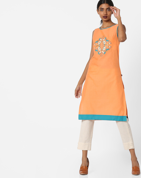 Sleeveless Straight Kurta By Juniper ( Peach )