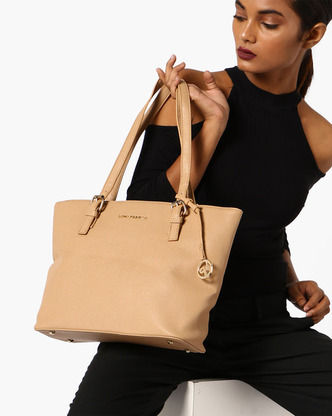 Tote Bag With Short Handles By Lino Perros ( Beige )