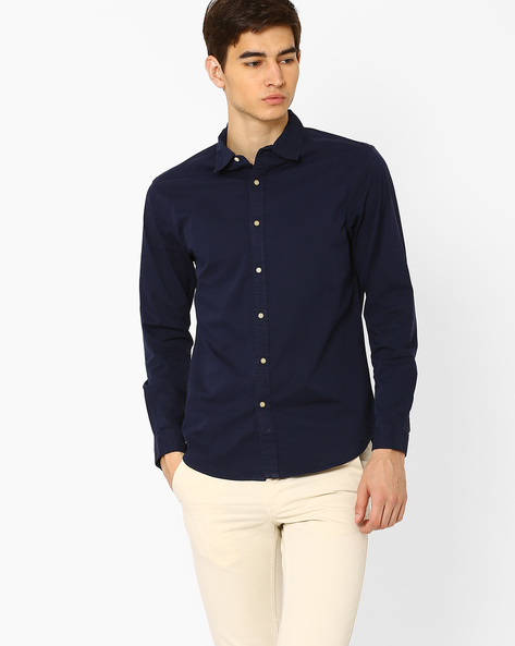 Slim Fit Cotton Shirt By Blue Saint ( Blue )