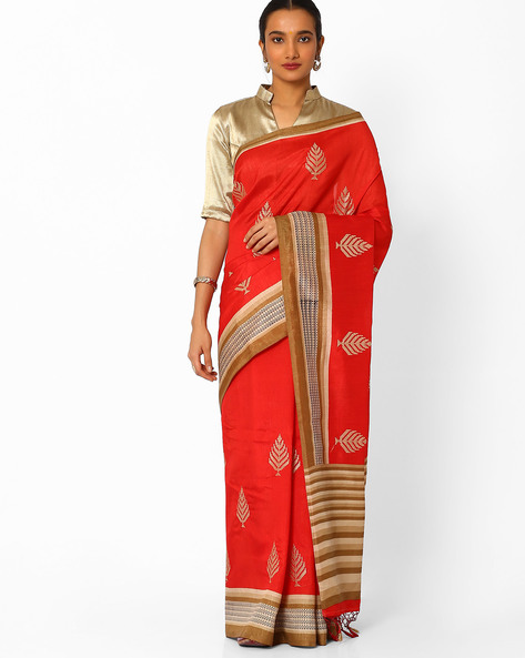 Embroidered Saree With Contrast Border By Amori ( Red )