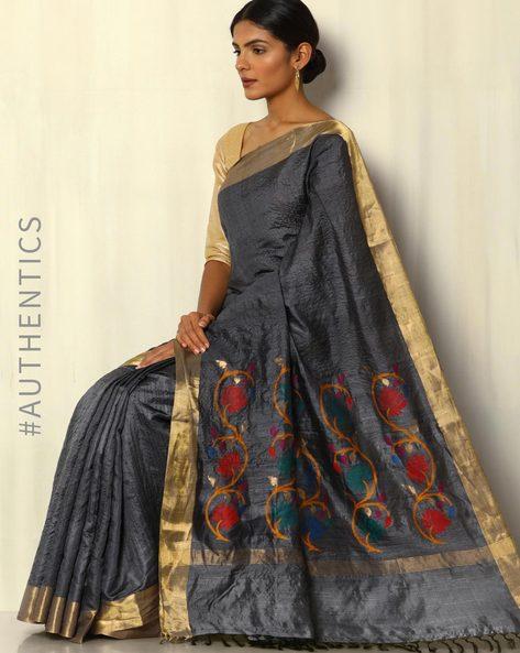 Handloom Pure Tussar Silk Saree With Zari Border By Pretty Woman ( Grey )